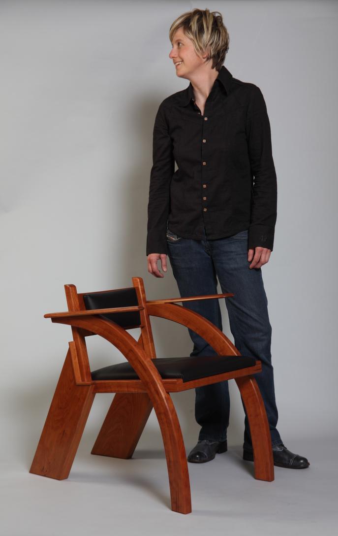 Armchair, Cherry, side chair, seating, custom furniture, modern chair
