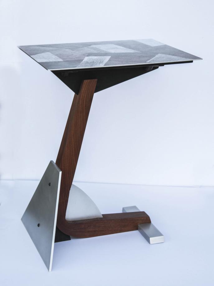TV table, Custom Furniture, Wood and metal, Walnut