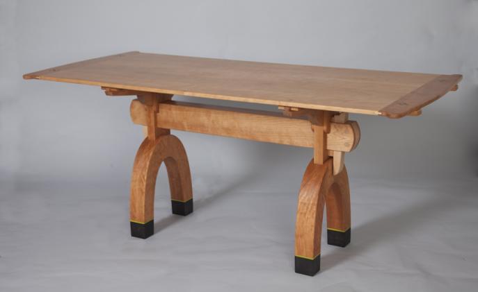 custom furniture, custom kitchen table, trestle table, Cherry table