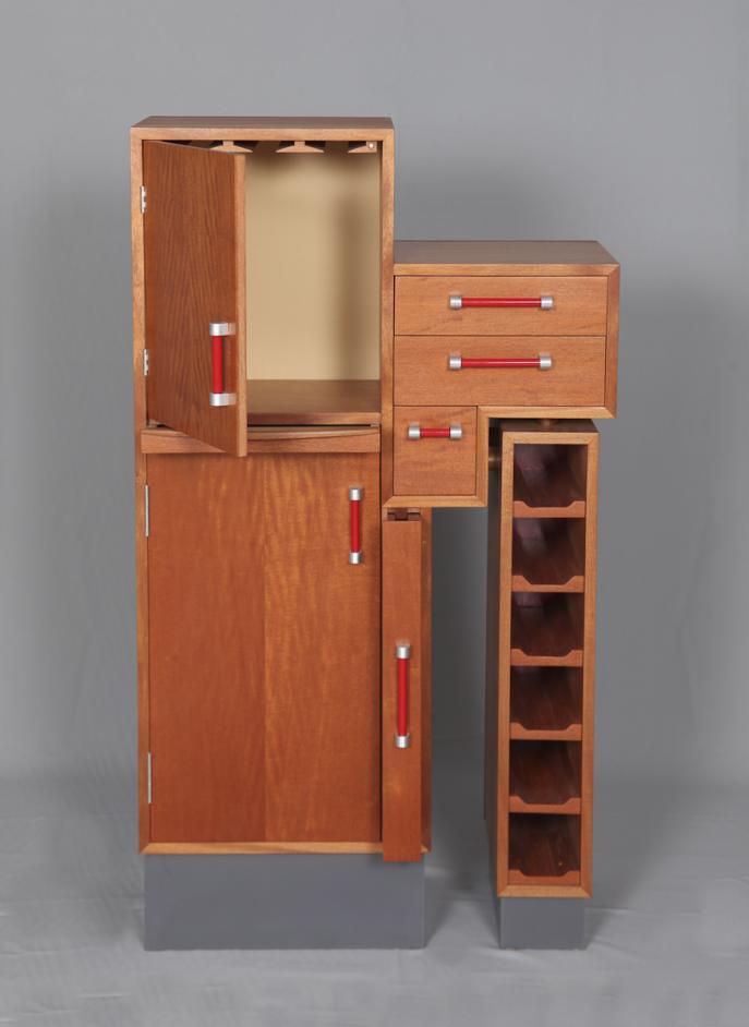 liquor cabinet, cusom furniture, one of a kind, statement piece, Mahogany, midcentury style, handmade
