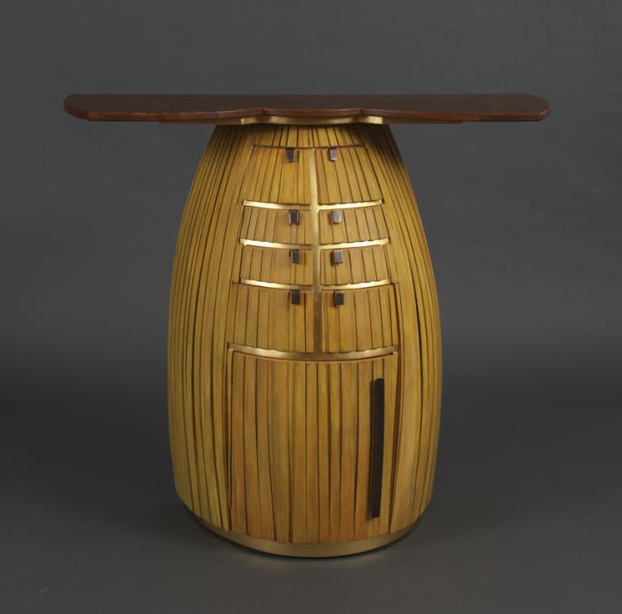 sideboard, entry, furniture, studio furniture, custom furniture, bowed front
